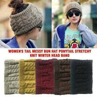 NEW Women Girl Stretch Knit Hat Messy Bun Ponytail Beanie Holey Warm Hats Winter