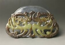 Rare Chinese Hetian old jade two dragon jade pendant