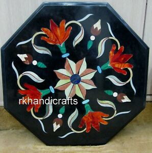 12 Inches Octagonal Marble End Table Top Hand Crafted Coffee Table Floral Work