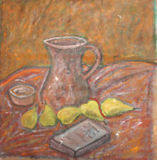 OIL PAINTING EXPRESSIONIST STILL LIFE WITH JUG, PEARS AND BOOK