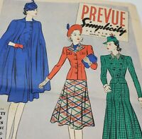 Vintage 1940s Simplcity Fashions Prevue Preview Sewing Patterns March 1940 Ads