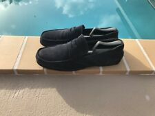 PRADA BLUE SUEDE SLIP ON PENNY LOAFERS CASUAL SHOES Sz 11.5M MADE IN ITALY