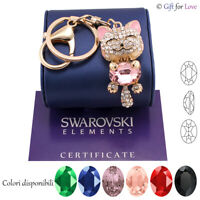Keyring gold woman Swarovski Elements original G4Love crystals cat