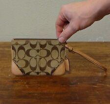 COACH Brown Leather Signature Canvas Small Slim Zip Wristlet Clutch - 4 x 6