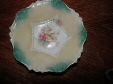 Antique RS Prussia Porcelain Small Bowl  Beautiful Teal - -Hallmark Red/ Star