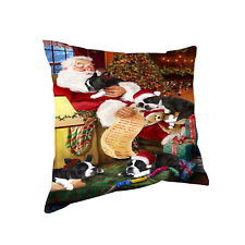 Boston Terrier Dog & Puppies Sleeping with Santa Throw Pillow 14x14