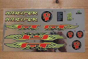 Reproduction 1995 GT Interceptor BMX Decal Set - Chrome Backing