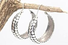 Handmade Sterling Silver.925 Bali Large  Wide Dot Style Hoop Earrings.
