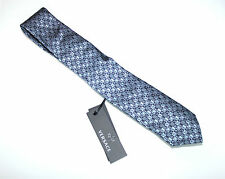 GIANNI VERSACE SILK TIE text logo MADE IN ITALY blue