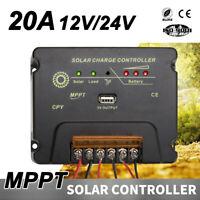 12V 24V 20A MPPT Solar Panel Charge Controller Regulator Battery Charging USB