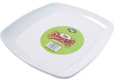 WHITE PLASTIC SERVING PLATTERS DISPOSABLE TRAYS PARTY PLATTER 40cm SQUARE PLATE