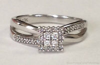 ESTATE JEWELRY LADIES 0.35 CTW DIAMOND ILLUSION RING 10K WHITE GOLD BAND SIZE 7