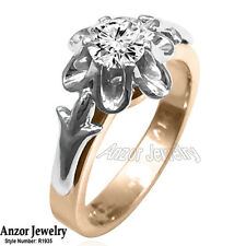 Russian Style Diamond Engagement ring 14k Solid Rose & White Gold #R1935.