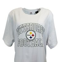 Pittsburgh Steelers NFL Majestic Women's White Logo T Shirt, 3x, nwt