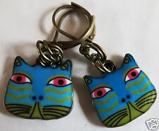 COLOURFUL CAT FACE ENAMEL CHARM BRASS TONE  HANDMADE EARRINGS FOR PIERCED EARS