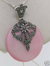 "Marcasite Sterling Silver Pink Mother of Pearl Large Round Pendant w/ 18"" Chain"