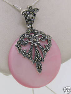 """Marcasite Sterling Silver Pink Mother of Pearl Large Round Pendant w/ 18"""" Chain"""
