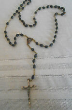 Vintage black wood seed bead rosary lovely vintage piece Italy