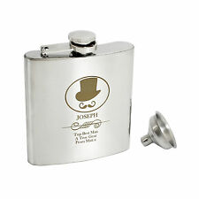 Personalised Top Hat 6oz Hip Flask, Gift Box - Engraved Free - Wedding Best Man
