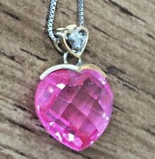 10k yellow gold pink crystal heart pendant diamond necklace 10k wg box chain