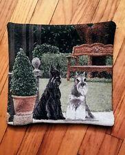 Miniature Standard Schnauzer Terrier Dog tapestry pillow Golden Horn Creations