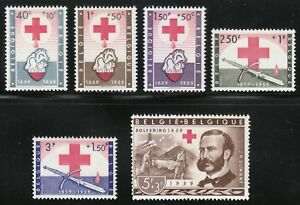 Belgium 1959 MNH Mi 1149-1154 Sc B641-B646 Red Cross & Henri Dunant.Medical **