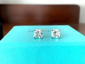 Tiffany & Co Platinum and Diamond Stud Earrings 2.10tcw G VVS1/2 $30k NEW