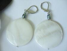 30 mm Weiße Perlmutt Button Ohrringe Ohrhänger Earrings m.5 x 4 mm Silberperle