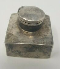 Vintage Old Handcrafted Silver Inkpot Decorative NH5337