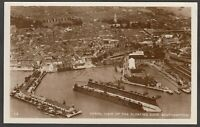 Postcard Southampton Hampshire aerial view Floating Dock and Town shipping RP