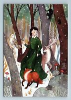 GIRL in SNOW Forest Deer Owl RED FOX Animal Winter Dance New Unposted Postcard