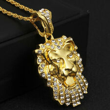 "Men's Hip Hop 18K Gold Plated Lion Head Crystal Pendant 28"" Link Chain Necklace"