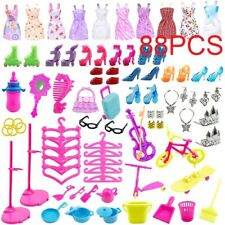 88 Stück Artikel für Barbie-Puppen Kleider Schuhe Schmuck Kleidung Set Zubehör