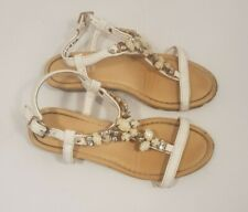 Size 13 (32) kids ivory white faux leather buckle strap wedge heel sandals