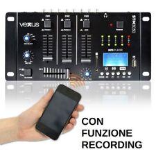 MIXER 3 CANALI CON BLUETOOTH + DISPLAY + USB/SD + FUNZIONE RECORDING dj studio