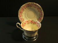 VINTAGE Fine BONE CHINA TEA CUP AND SAUCER Adderley England Pink rose garland