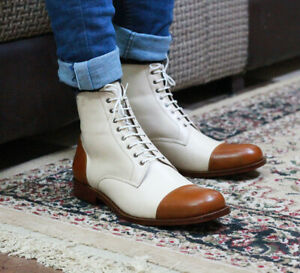 Perfectionist Dual Tone Ankle Cap Toe Genuine Leather Laced Up Fashionable Boots