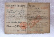 Resident HUNTING LICENSE 1927  BIRDS ILLINOIS LAWRENCE COUNTY - Leo Griffin