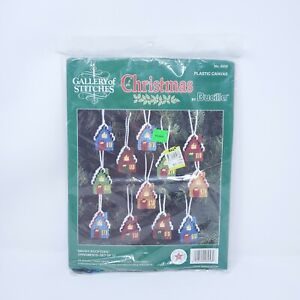 BUCILLA CHRISTMAS GALLERY OF STITCHES 12 Ornaments 6956 Snowy Rooftops Free Ship