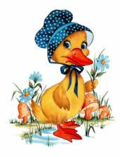 Vintage Image Retro Nursery Mother Duck Bonnet Transfers Waterslide Decal Bir828