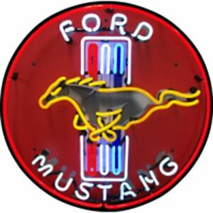 """Neon Sign - Mustang 24"""" Red Sign With Backing * High Quality * Free USA Shipping"""