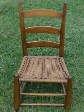 High Quality Southern Ladder Back Chair 18 19 C. Period Hand Worked Pegged Woven Seat