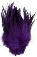 "15+ PURPLE ROOSTER SADDLE HAIR EXTENSION CRAFT FEATHER 6""-7""L"