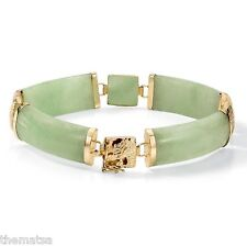 WOMENS 14K YELLOW GOLD JADE LINK BRACELET