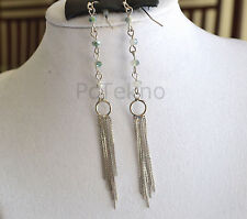 Urban Outfitters Silver Tone Reflective Beads Fringe Drop Earrings NEW