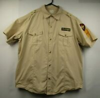 Mens Parish 3XL Beige Short Sleeve Button Front Military Style Embellished Shirt