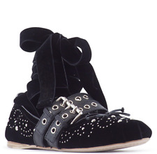 NWB Miu Miu 38.5 Studded Double Strap Black Ballet Ballerina Lace Up Flat Shoe