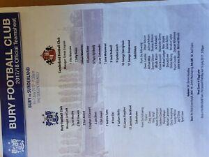 Bury V Sunderland Teamsheet 7th July 2017