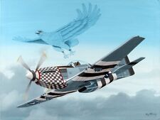 Painting Acrylic On Panel P-51D MUSTANG WITH AN AMERICAN EAGLE BY RAY WADDEY