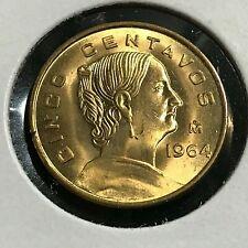1964 MEXICO 5 CENTAVOS BRILLIANT UNCIRCULATED COIN